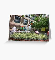 Happy snowman in Hong Kong Greeting Card