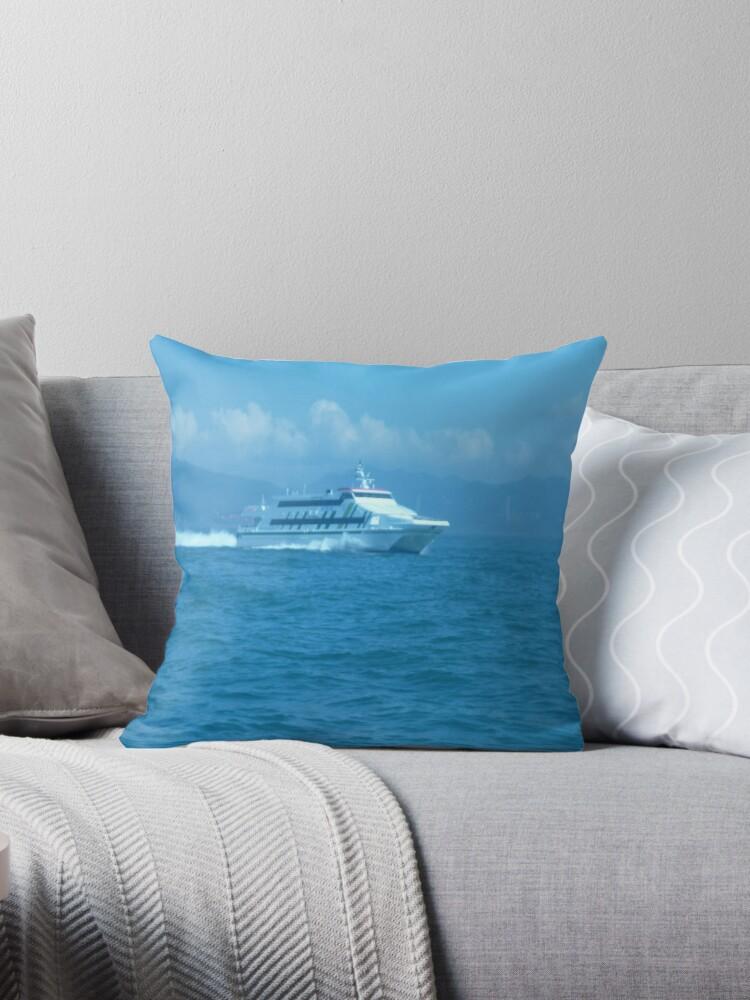 Sleek ship powering through the wake by Joseph Green