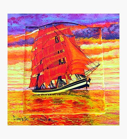 A Clipper Ship on a Wooden Door Photographic Print