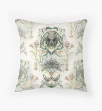 Antique pattern - Spider and Moths Throw Pillow