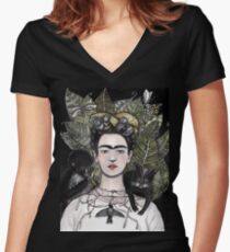 Frida Kahlo self portrait version Women's Fitted V-Neck T-Shirt