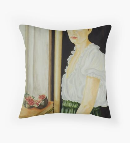 woman with pomegranate Throw Pillow