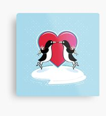 Love Penguins Metal Print