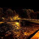 Bakewell Footbridge Over The River Wye At Night  by Mark Dobson