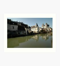 Indres River Reflections, Loches, France 2012 Art Print