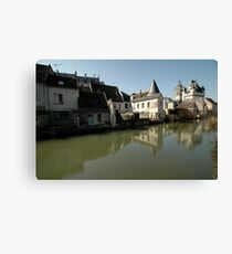 Indres River Reflections, Loches, France 2012 Canvas Print