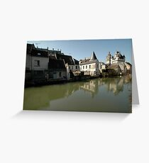 Indres River Reflections, Loches, France 2012 Greeting Card