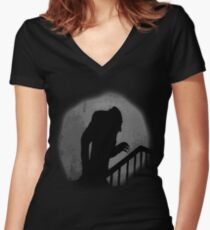 Nosferatu Silhouette Women's Fitted V-Neck T-Shirt