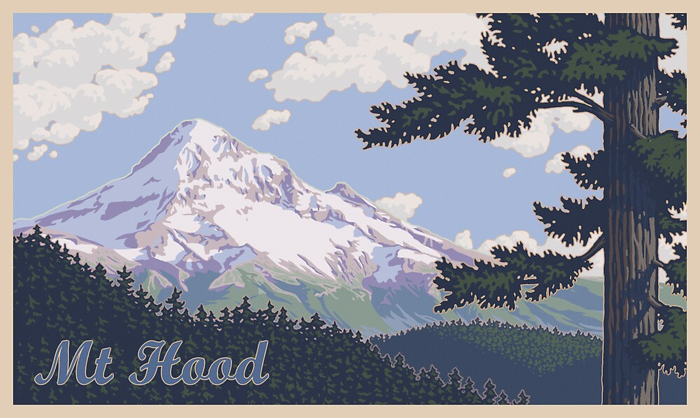 Vintage Mount Hood Travel Poster by mitchfrey