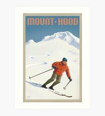 Vintage Ski Mount Hood Travel Poster Art Print