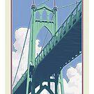 Vintage St. Johns Bridge Travel Poster by mitchfrey