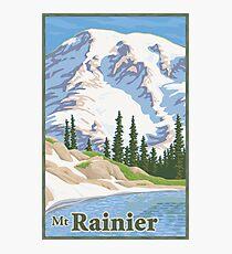 Vintage Mount Rainier Travel Poster Photographic Print