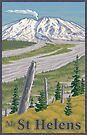 Vintage Mount St. Helens Travel Poster by mitchfrey