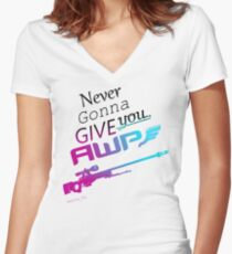Counter-Strike    Never Gonna Give You AWP Women's Fitted V-Neck T-Shirt