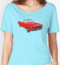 1965 Red Ford Mustang Convertible Women's Relaxed Fit T-Shirt