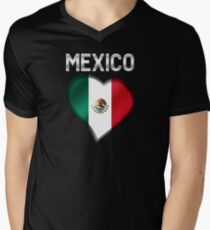 Mexico - Mexican Flag Heart & Text - Metallic Men's V-Neck T-Shirt