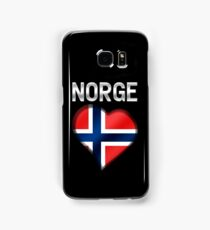 Norge - Norwegian Flag Heart & Text - Metallic Samsung Galaxy Case/Skin