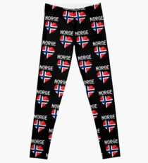 Norge - Norwegian Flag Heart & Text - Metallic Leggings