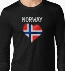 Norway - Norwegian Flag Heart & Text - Metallic T-Shirt