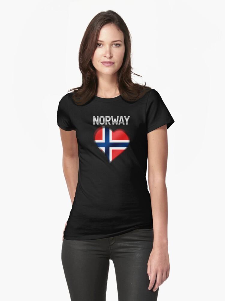 Norway - Norwegian Flag Heart & Text - Metallic by graphix