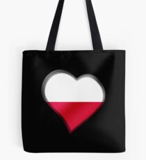 Polish Flag - Poland - Heart Tote Bag