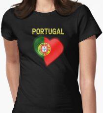 Portugal - Portuguese Flag Heart & Text - Metallic T-Shirt