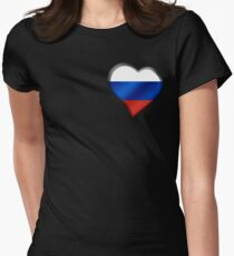 Russian Flag - Russia - Heart Womens Fitted T-Shirt