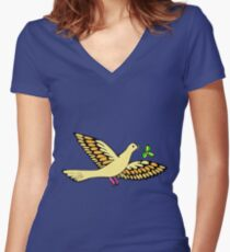 Peace dove with olive branch Fitted V-Neck T-Shirt