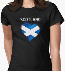 Scotland - Scottish Flag Heart & Text - Metallic Women's Fitted T-Shirt
