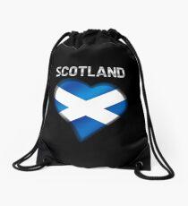 Scotland - Scottish Flag Heart & Text - Metallic Drawstring Bag