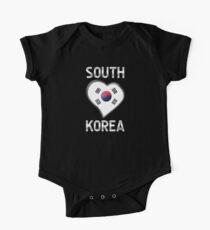 South Korea - South Korean Flag Heart & Text - Metallic One Piece - Short Sleeve