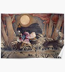 Running With Monsters - Kitsune Fox Yokai  Poster