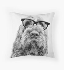 Brown Roan Italian Spinone Dog Head Shot with Glasses Throw Pillow