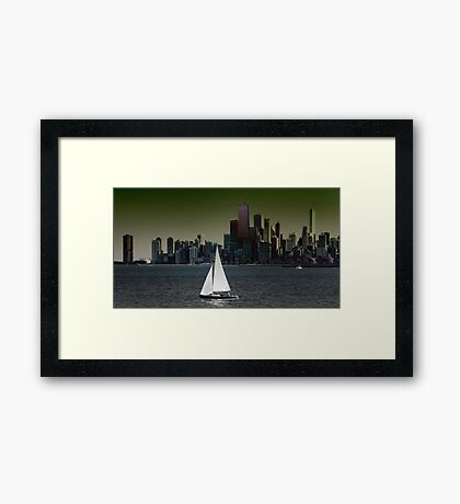 The Boat and The City Framed Print