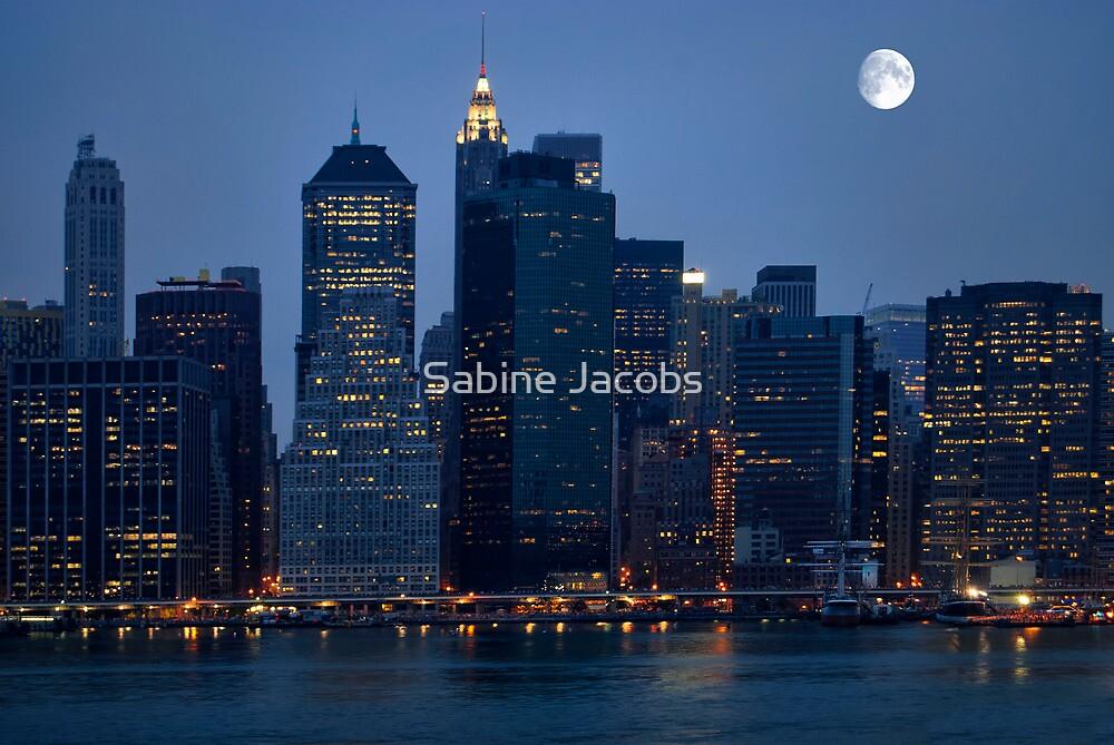 Moon Over NYC Skyline ~ New York City ~ USA by Sabine Jacobs