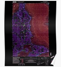USGS Topo Map Washington State WA Vashon 244467 1997 24000 Inverted Poster