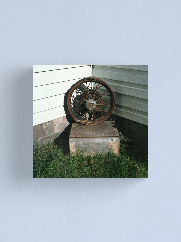 Alternate view of Ford Model A Wheel on Bee-keeper's Box Canvas Print