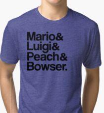 Mario & Luigi & Peach & Bowser - Black Tri-blend T-Shirt