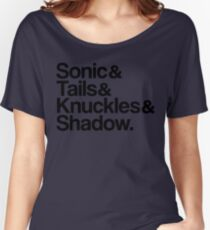 Sonic & Tails & Knuckles & Shadow - Black Women's Relaxed Fit T-Shirt