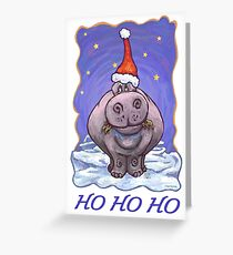 Hippopotamus Christmas Card Greeting Card