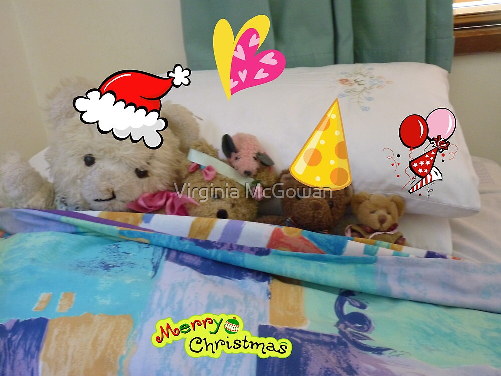 Christmas Greetings,waiting for Santa,  from The Bears  by Virginia McGowan