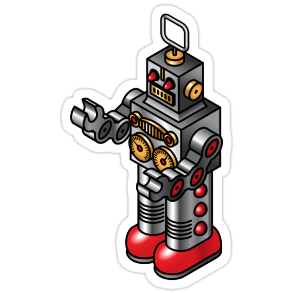 """Tin toy robot"" Stickers by Zern Liew 