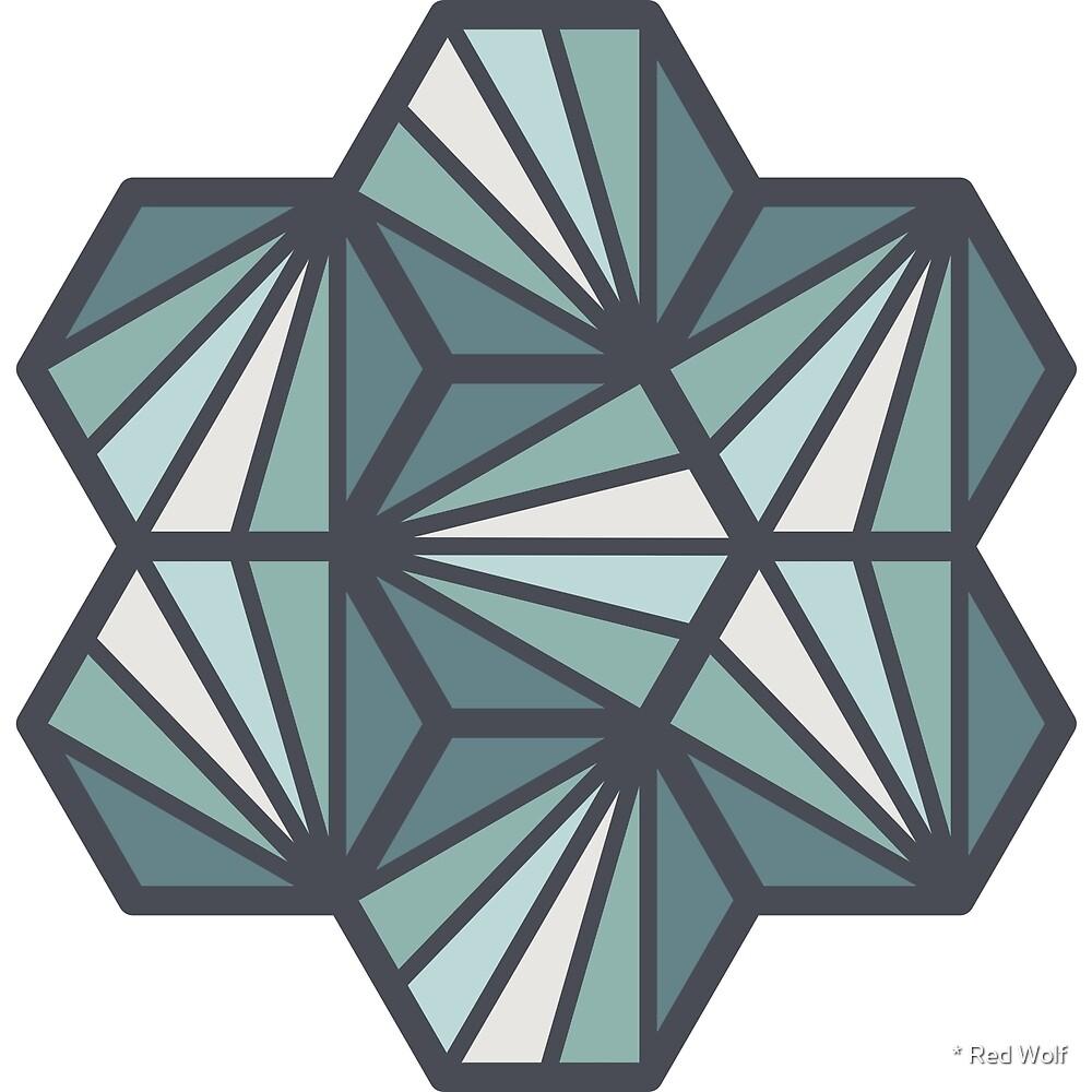 Geometric Pattern: Hexagon Ray: Seafoam by * Red Wolf