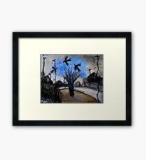 crows in the jacaranda Framed Print