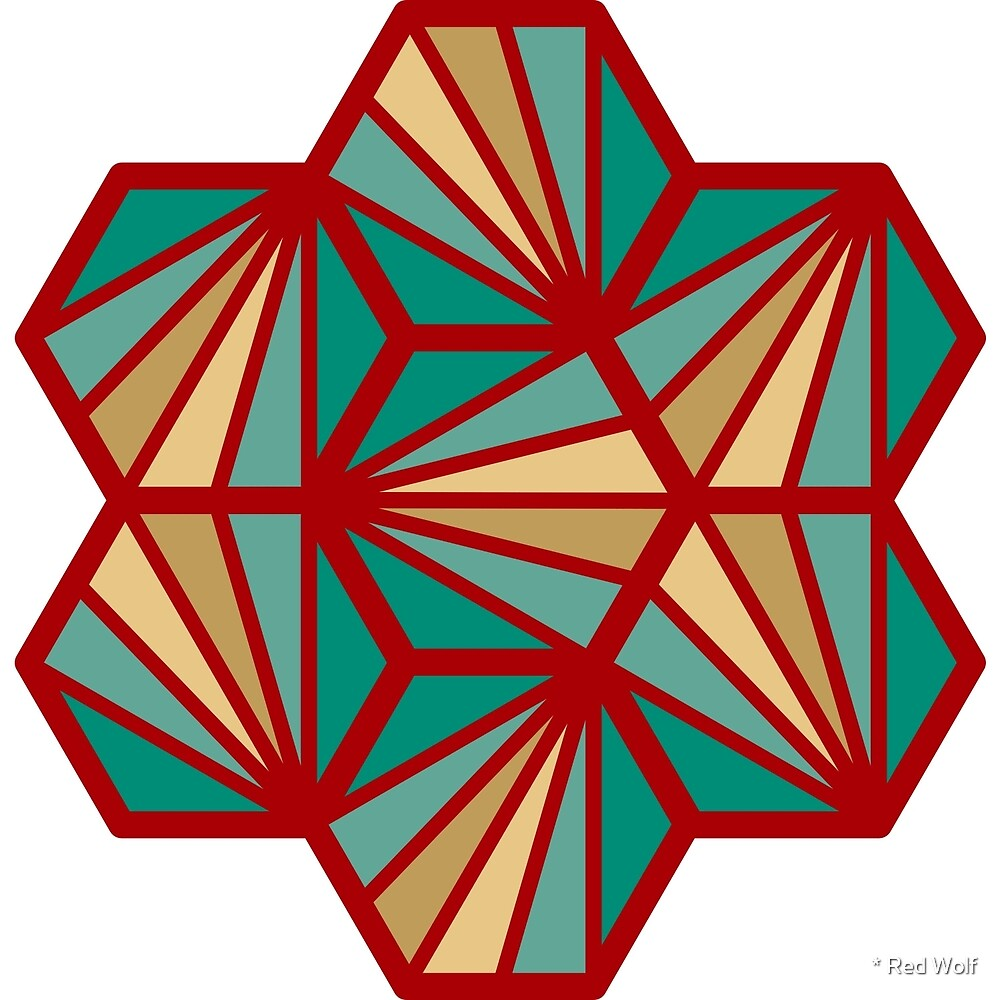 Geometric Pattern: Hexagon Ray: Turquoise by * Red Wolf