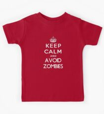 Keep calm and avoid zombies. (text only) Kids Clothes