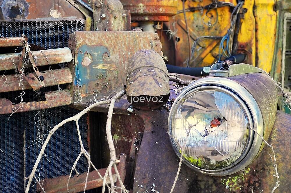 Old School Bus With Broken Headlight by joevoz