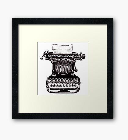 Vintage Typewriter black and white pen ink drawing Framed Print