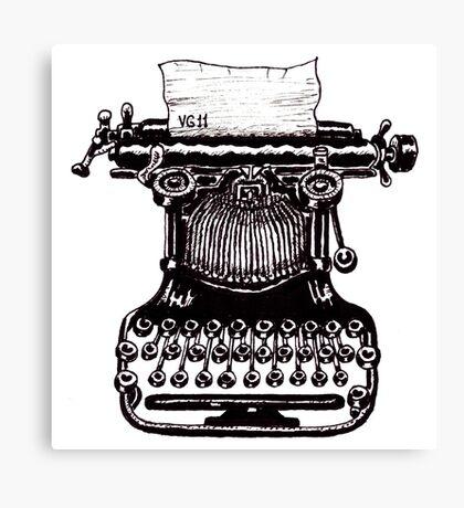Vintage Typewriter black and white pen ink drawing Canvas Print