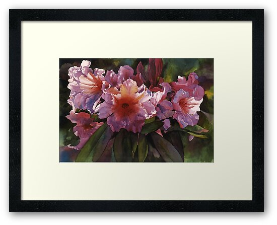 "Watercolor ""Autumn Gold"" Rhododendron  by Pat Yager"